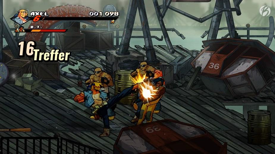 Streets of Rage 4 - Mit aufgeladenen Schlägen lassen sich die Gangster bis in den Abgrund am Bildschirmrand treten.