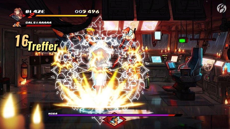 Streets of Rage 4 - Blaze vs. Boss Nora in ihrer kleinen Folterkammer.