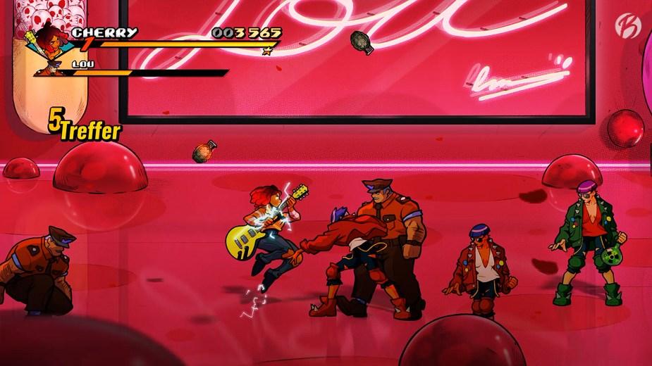 Streets of Rage 4 - Vorsicht Ulti! Einmal in die Saiten gehauen, fetzt Cherry bis zum rechten Bildschirmrand und reißt alles mit sich.