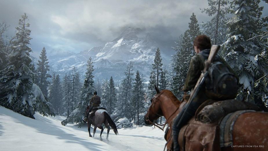 Quelle: SIE - The Last of Us Part II - Ausritt im schneebedeckten Gebirge.