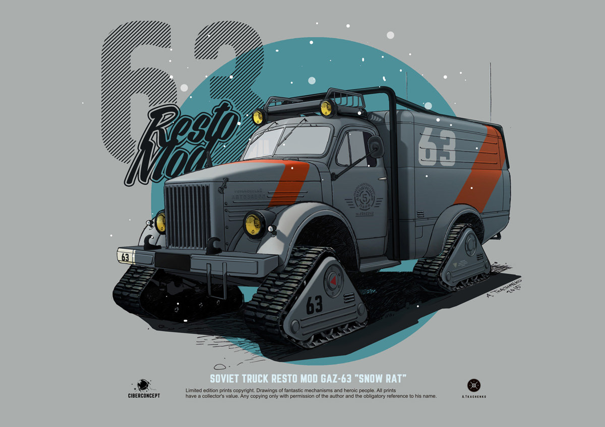 """Quelle: Artstation - Andrey Tkachenko - GAZ-63 Resto Mod """"Snow Rat"""""""
