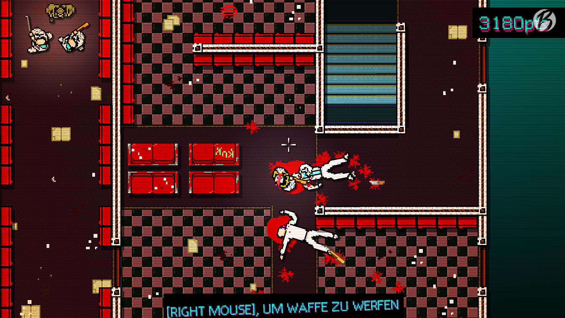 Spielszene aus dem ersten Teil von Hotline Miami.