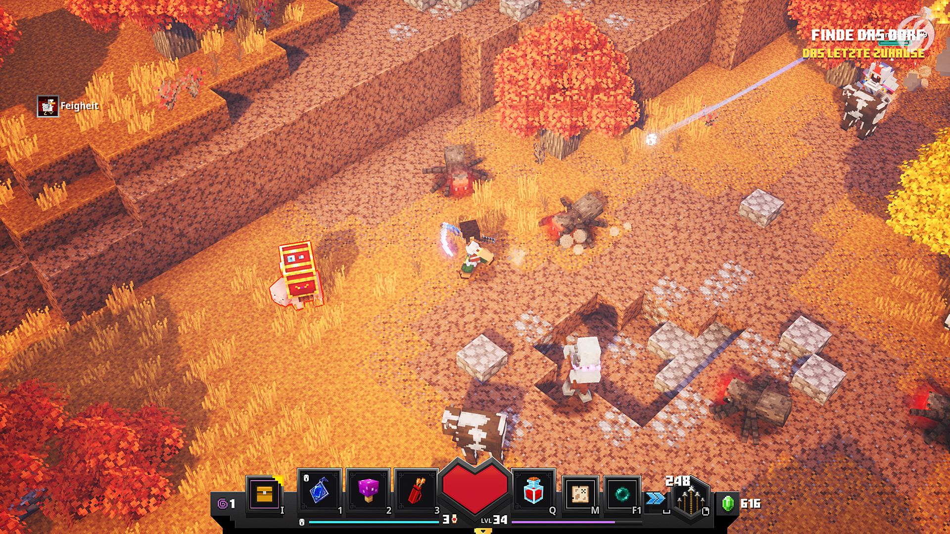 Minecraft Dungeons - Loot-Schwein! Die kleinen Schweinchen mit der Kiste auf dem Rücken bringen lohnenswerte Beute.