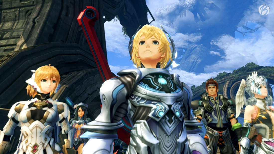 Xenoblade Chronicles: Definitive Edition - Shulk und Co. in der Hand des Titanen.