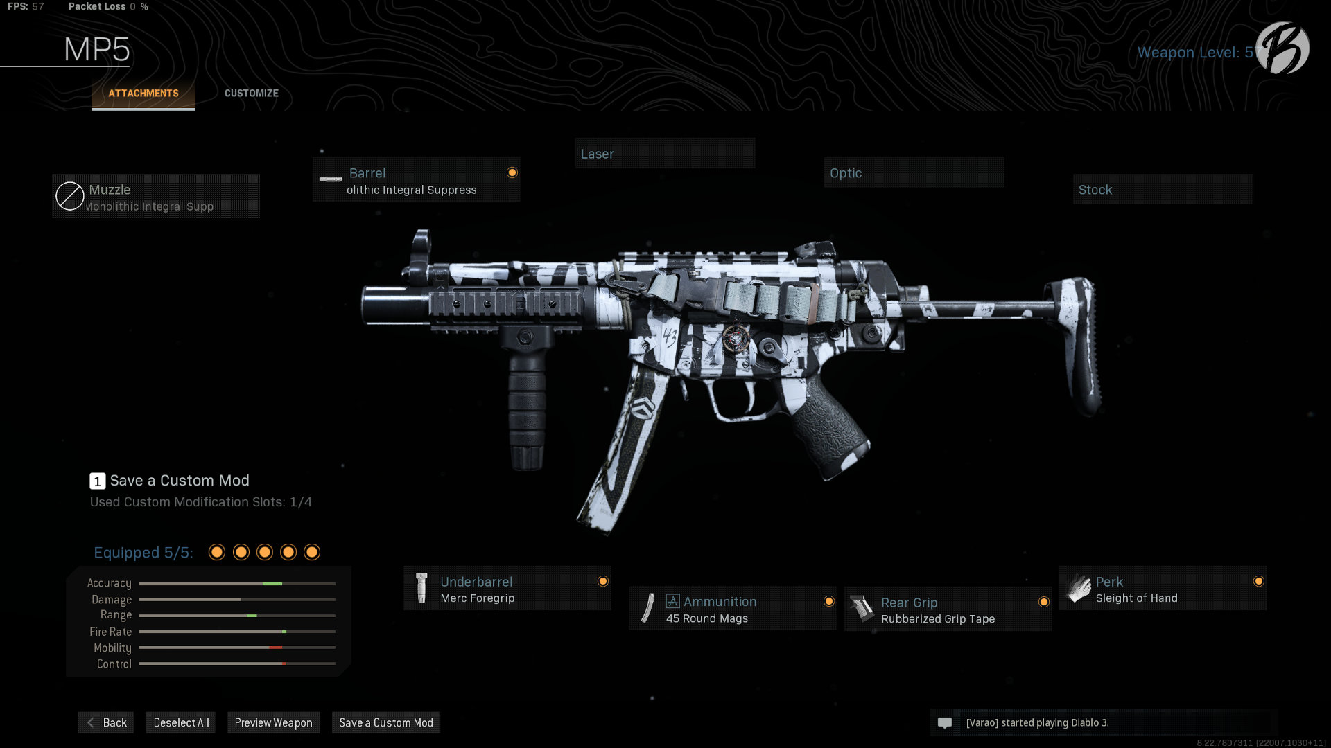 MP5: Monolithic Integral Suppressor, Merc Foregrip, 45 Round Magazin, Rubberized Grip Tape, Sleight of Hand