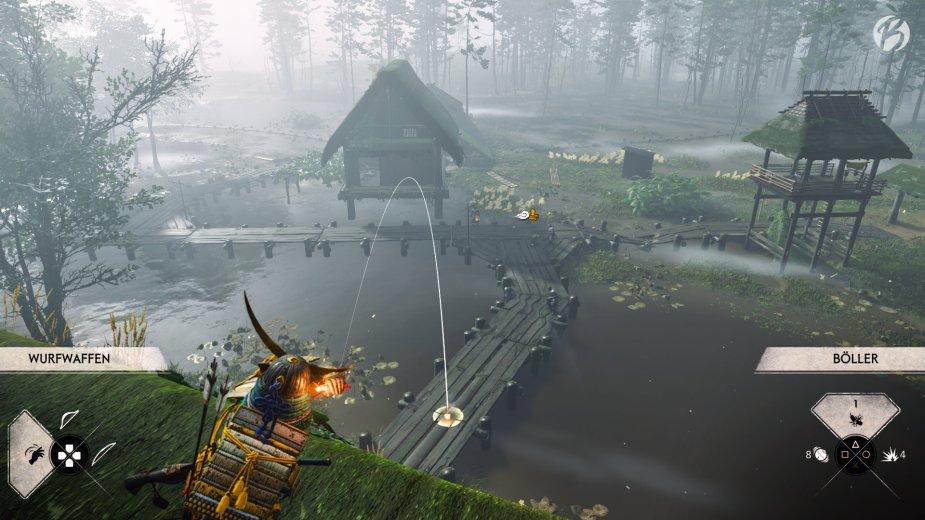 Ghost of Tsushima - Mit den Böllern lassen sich die Gegner leicht an eine Stelle locken.