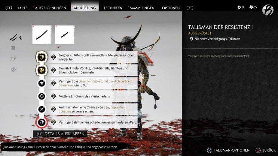 Ghost of Tsushima - Der passende Talisman kann den Spielstil deutlich verbessern. Es ist sogar möglich komplette Sets für Bögen, Schwerter oder Geistwaffen zu erstellen.
