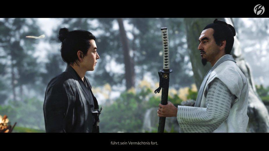Ghost of Tsushima - Fürst Shimura überreicht uns das Katana unseres verstorbenen Vaters.