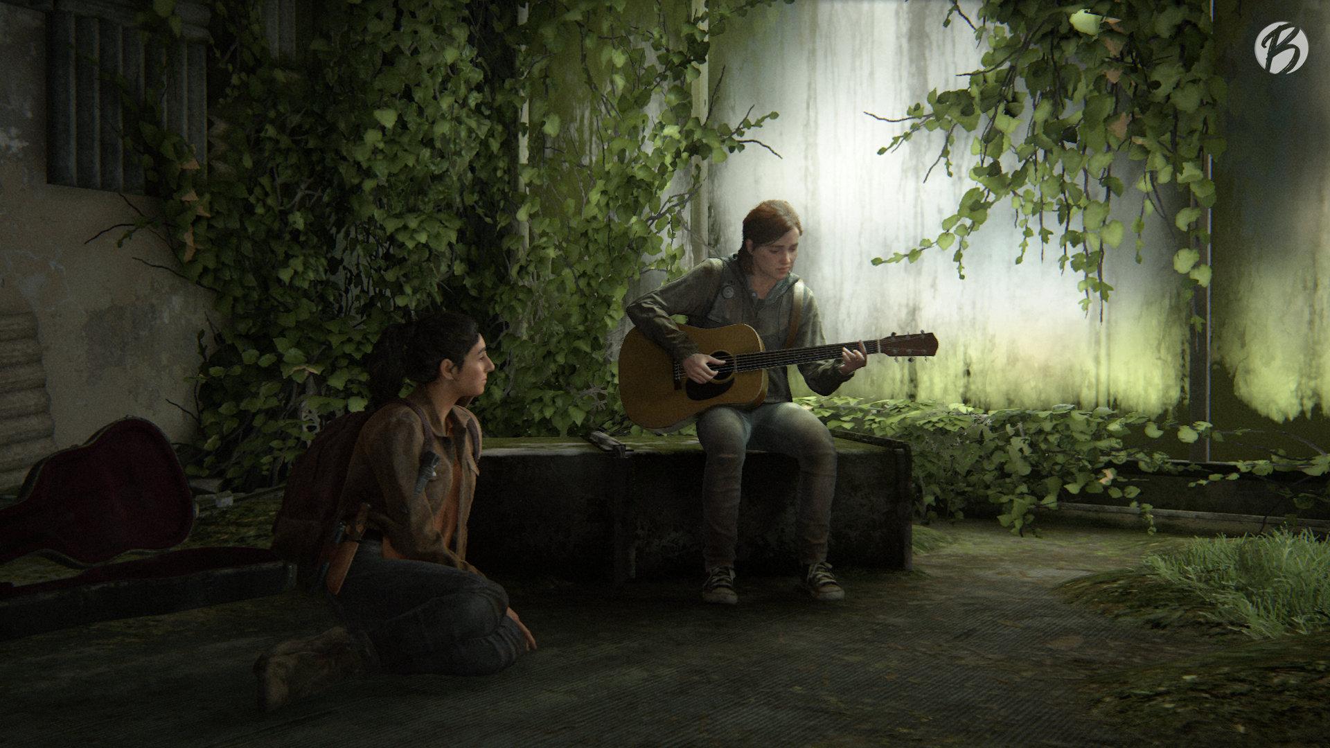 The Last of Us Part II - Ellie spielt Dina etwas auf der Gitarre vor.
