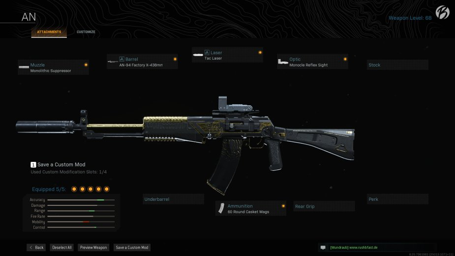 AN-94: Monolithic Suppressor, AN-94 Factory X-438mm, Tac Laser, Monocle Reflex Sight, 60 Round Casket Mags