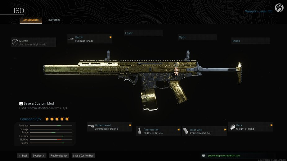 ISO: FSS Nightshade, Commando Foregrip, 50 Round Drums, FTAC Elite ISO Grip, Sleight of Hand
