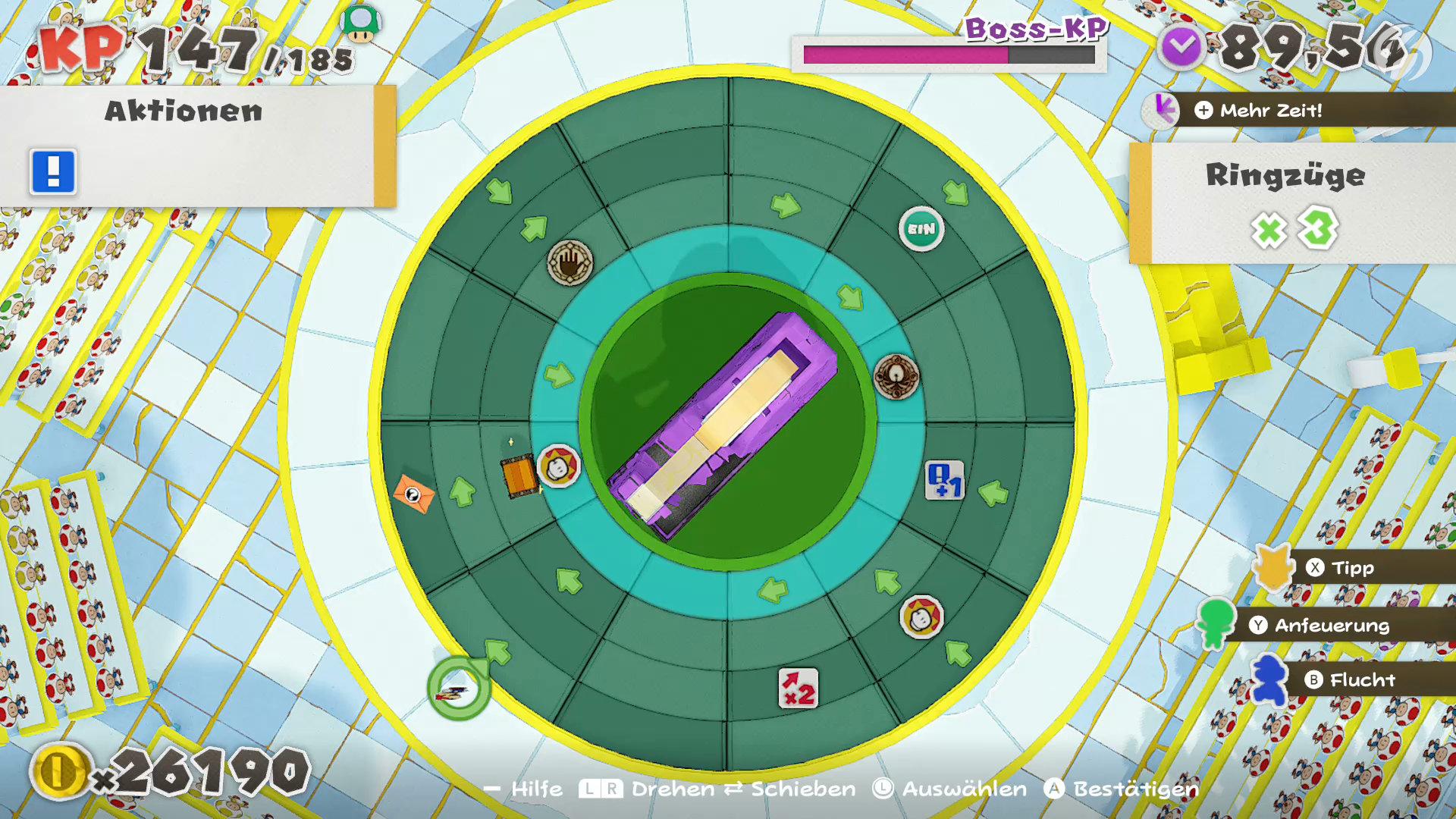 Paper Mario: The Origami King - Bei Bosskämpfen werden die Arenen komplexer und mit Spezialeffekten belegt.