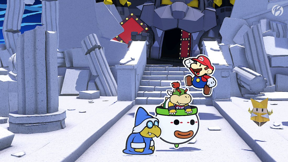 Paper Mario: The Origami King - Jubel vor Bowsers abgestürzter Festung.