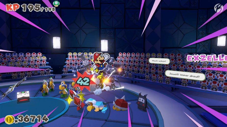 Paper Mario: The Origami King - Vorsicht stacheliger Gegner! Hier helfen die massiven Eisenstiefel.