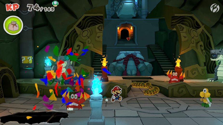 Paper Mario: The Origami King - Die gemeinen Papierschergen lauern an jeder Ecke, berühren wir sie, geht es ab in die Arena.