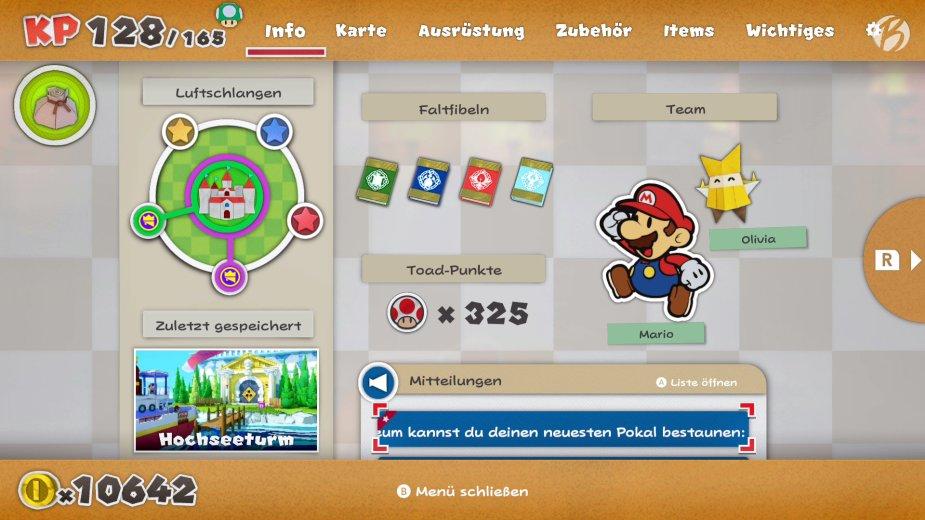Paper Mario: The Origami King - Im Spielmenü gibt es den vollen Überblick auf die aktuelle Aufgabe und unseren Status.