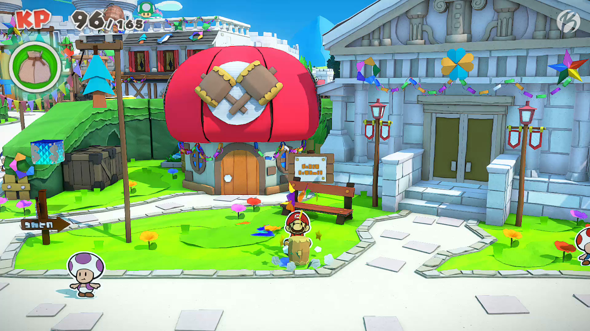 Paper Mario: The Origami King - Toad Town ist wunderschön gestaltet.