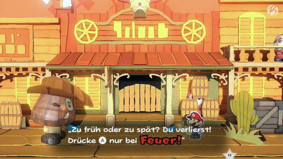 Paper Mario: The Origami King - Mario mit spontaner Einladung als Akteur in der Wild West Show.