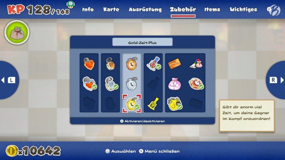 Paper Mario: The Origami King - Das freischaltbare Zubehör erleichtert das Suchen von Toads und die Kämpfe in den Arenen enorm.