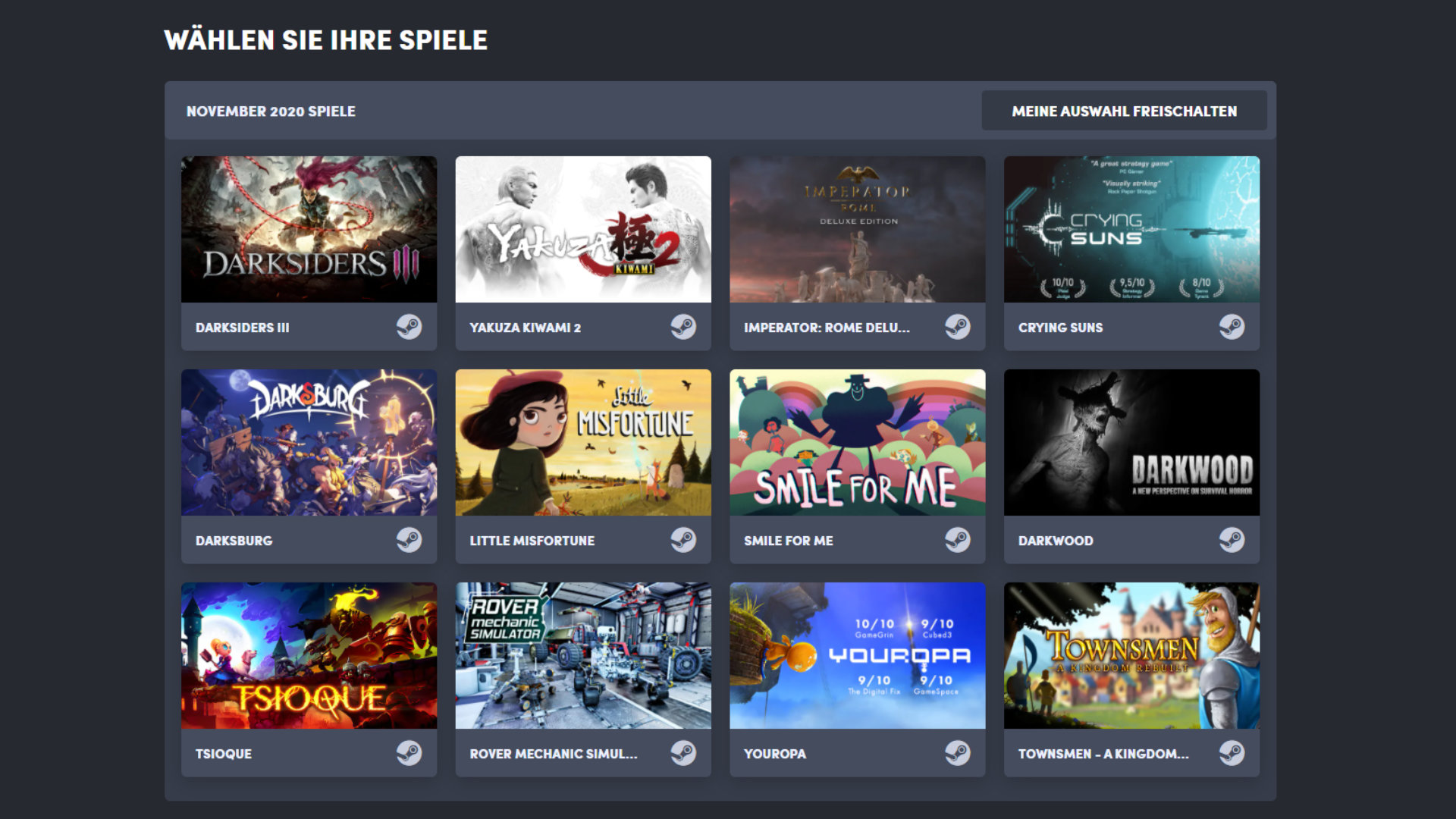 Quelle: Humble Bundle (Choice) - November 2020 Auswahl