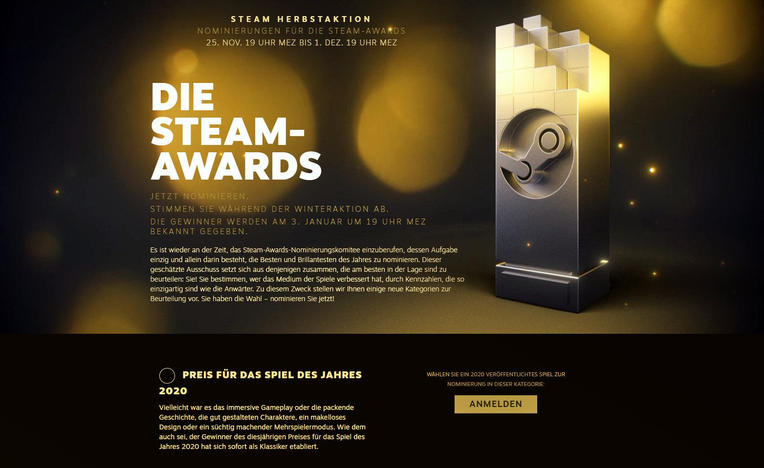 Quelle: Steam - Steam-Awards 2020