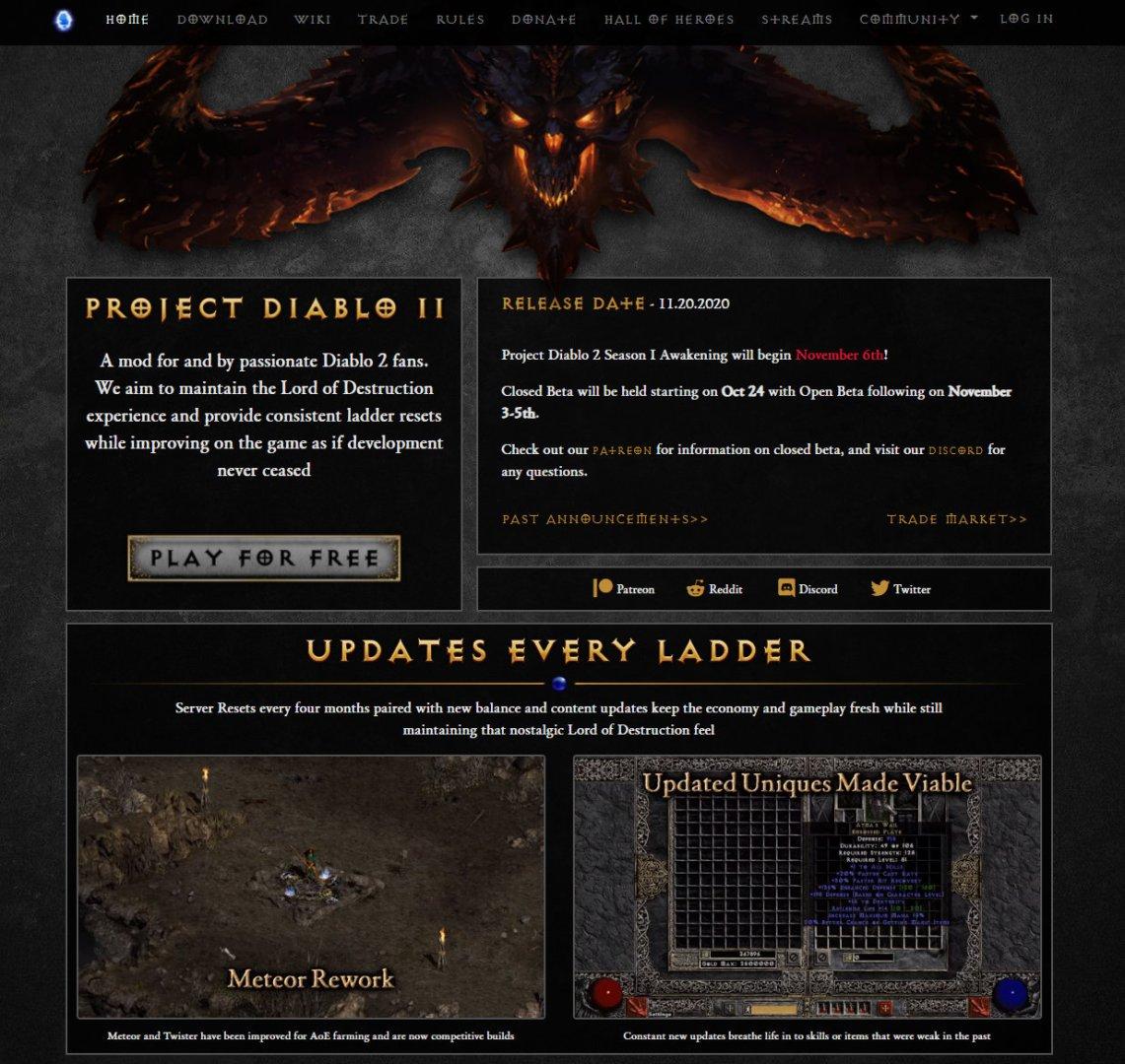 Project Diablo II Mod Webseite