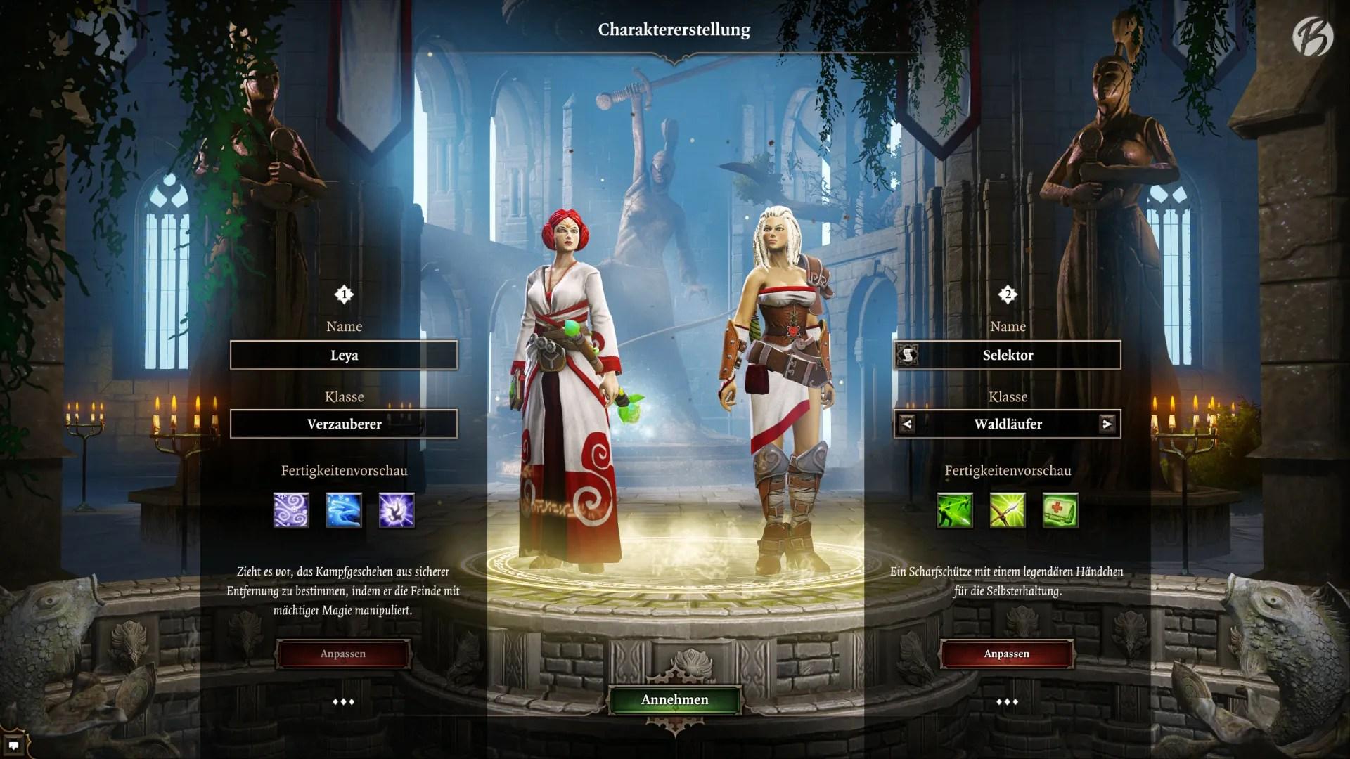 Divinity Original Sin - Im Koop-Modus erstellt jeder Spieler seinen eigenen Charakter mit ausgewählten Werten und Fähigkeiten.
