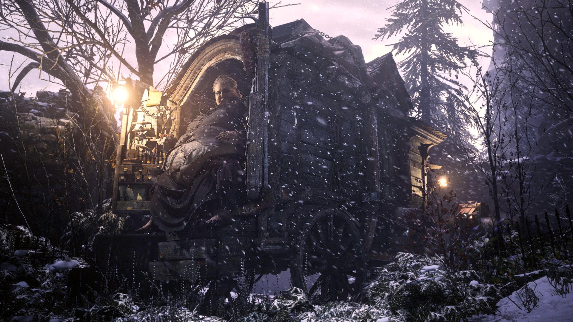 "Quelle: Capcom - Resident Evil Village - Der Händler ""Duke"" versorgt uns mit Items."