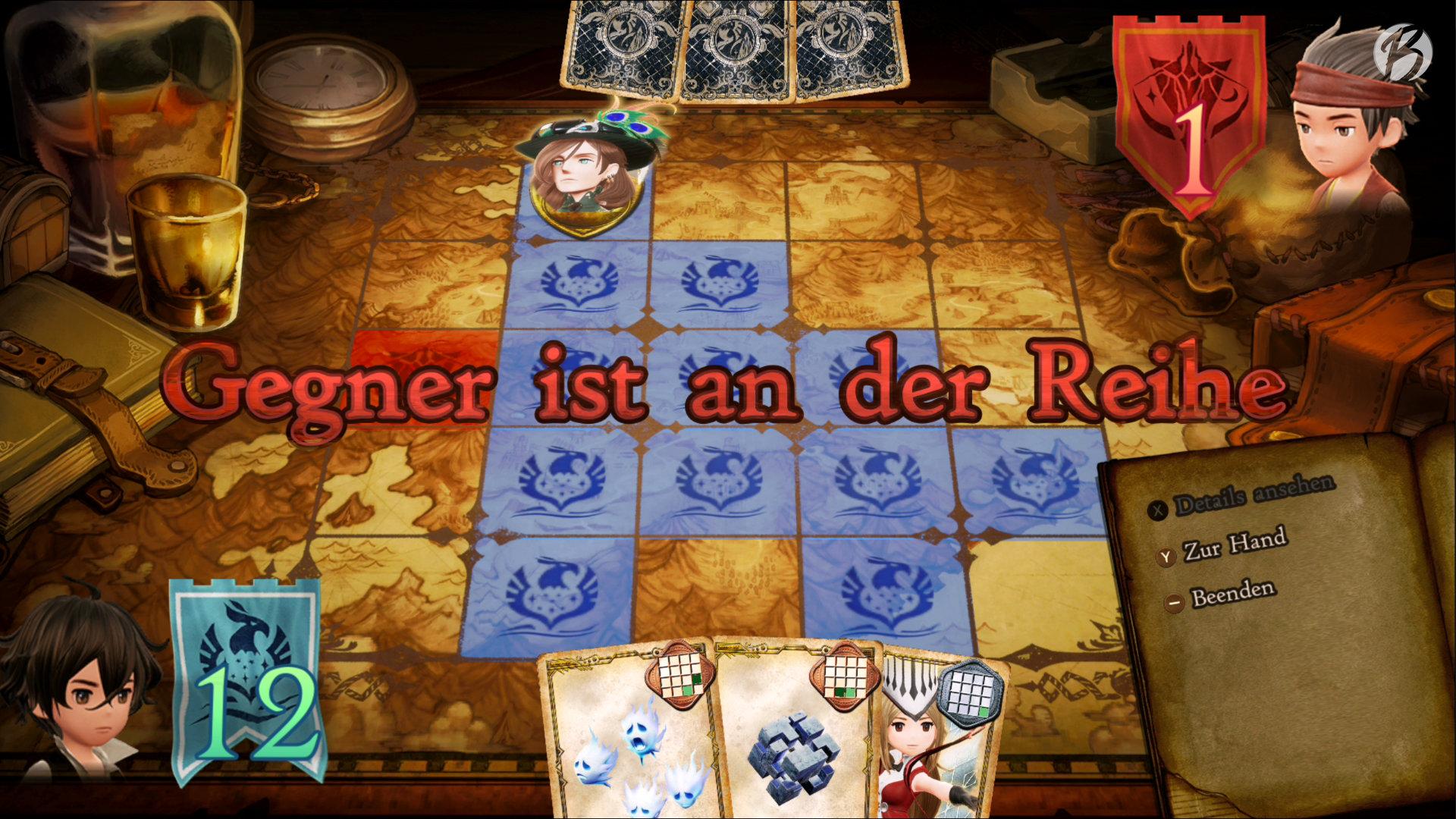 Bravely Default II - Blockieren und Dominieren ist ein umfangreiches Kartenspiel, welches gegen die NPCs in den Städten gespielt werden kann.