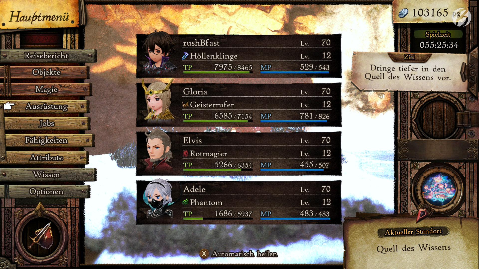 Bravely Default II - Ich liebe diesen »Automatisch heilen« Knopf am unteren Bildschirmrand.