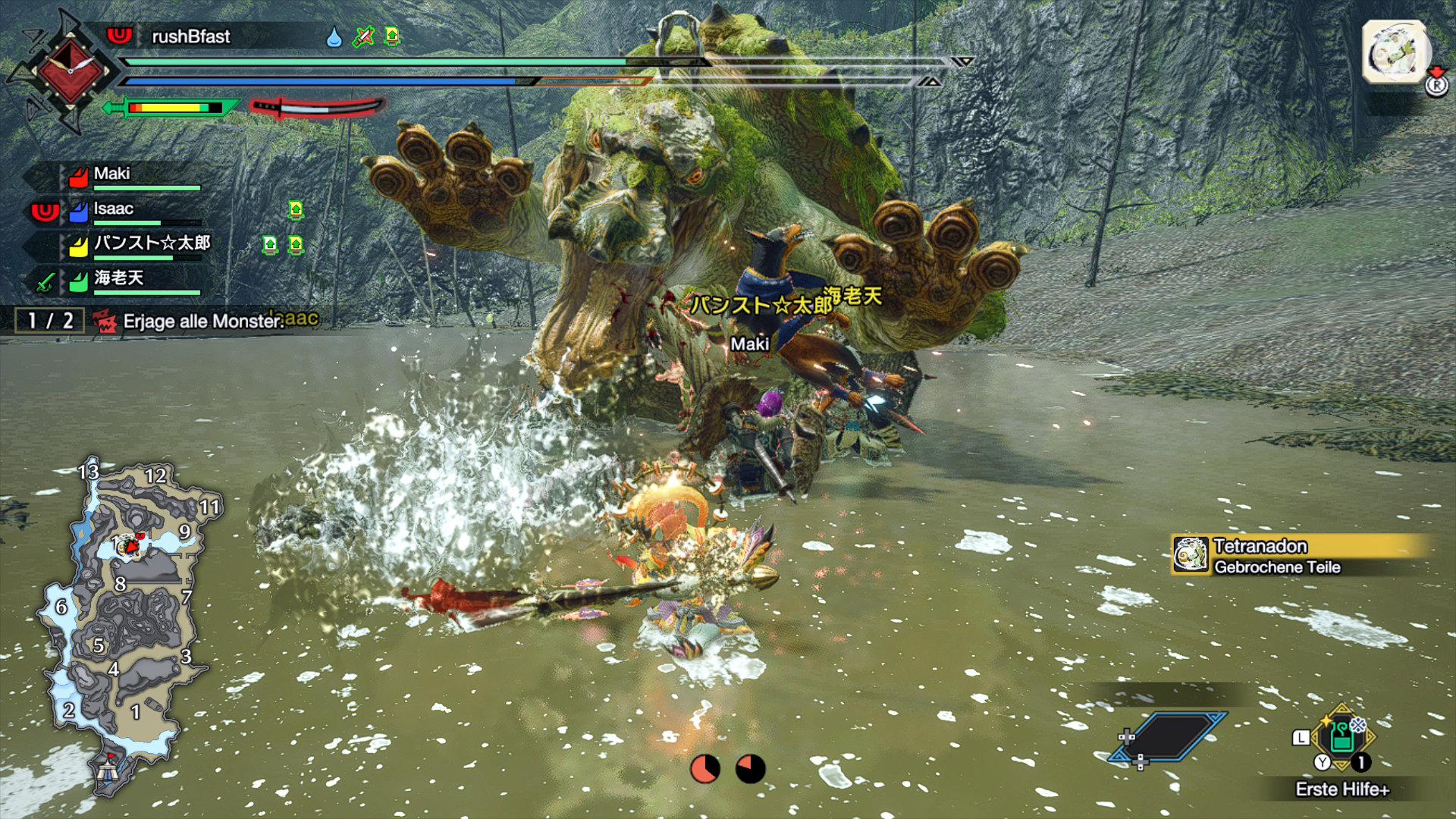 Monster Hunter Rise - Tetranadon: Das Schnabeltier im Ghillie Suit mit Sumo-Kampfstil.
