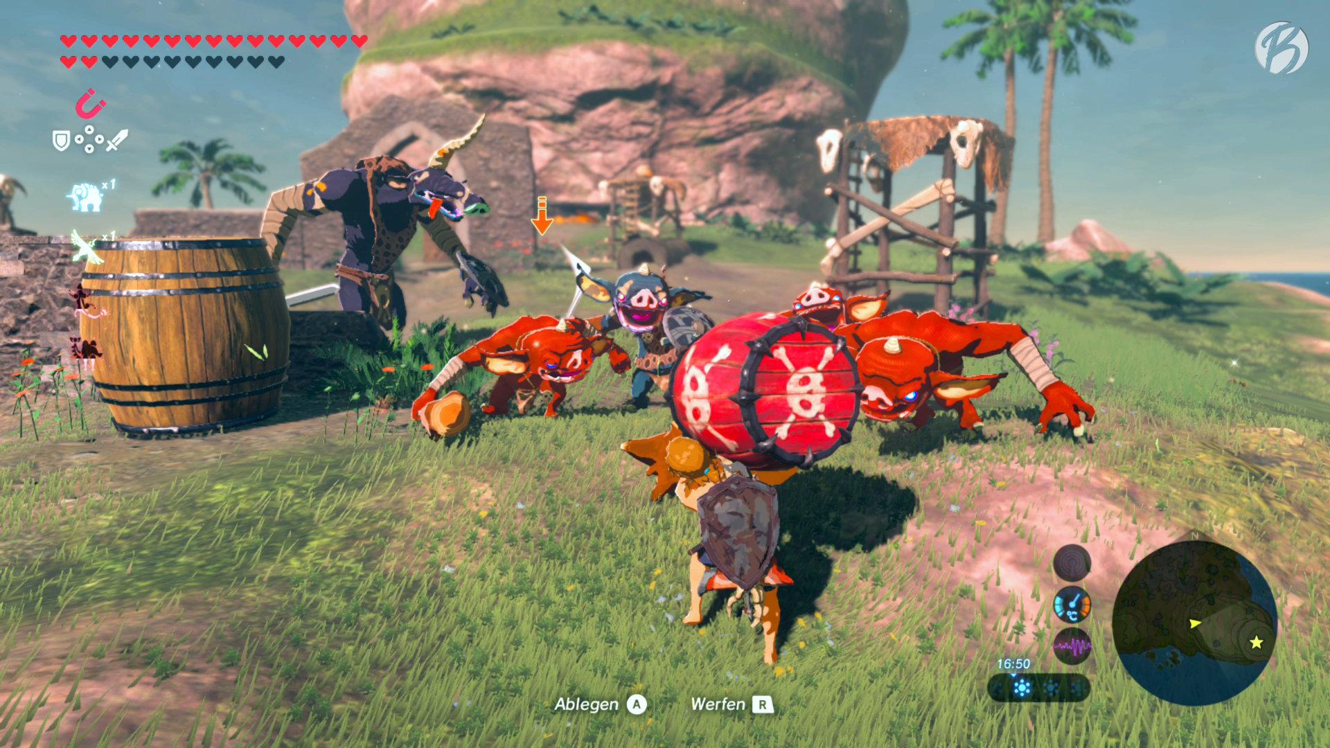 The Legend of Zelda: BotW - Anspruchsvoll! Auf einer abgelegenen Insel dürfen wir nur die Gegenstände verwenden, die wir vor Ort finden.
