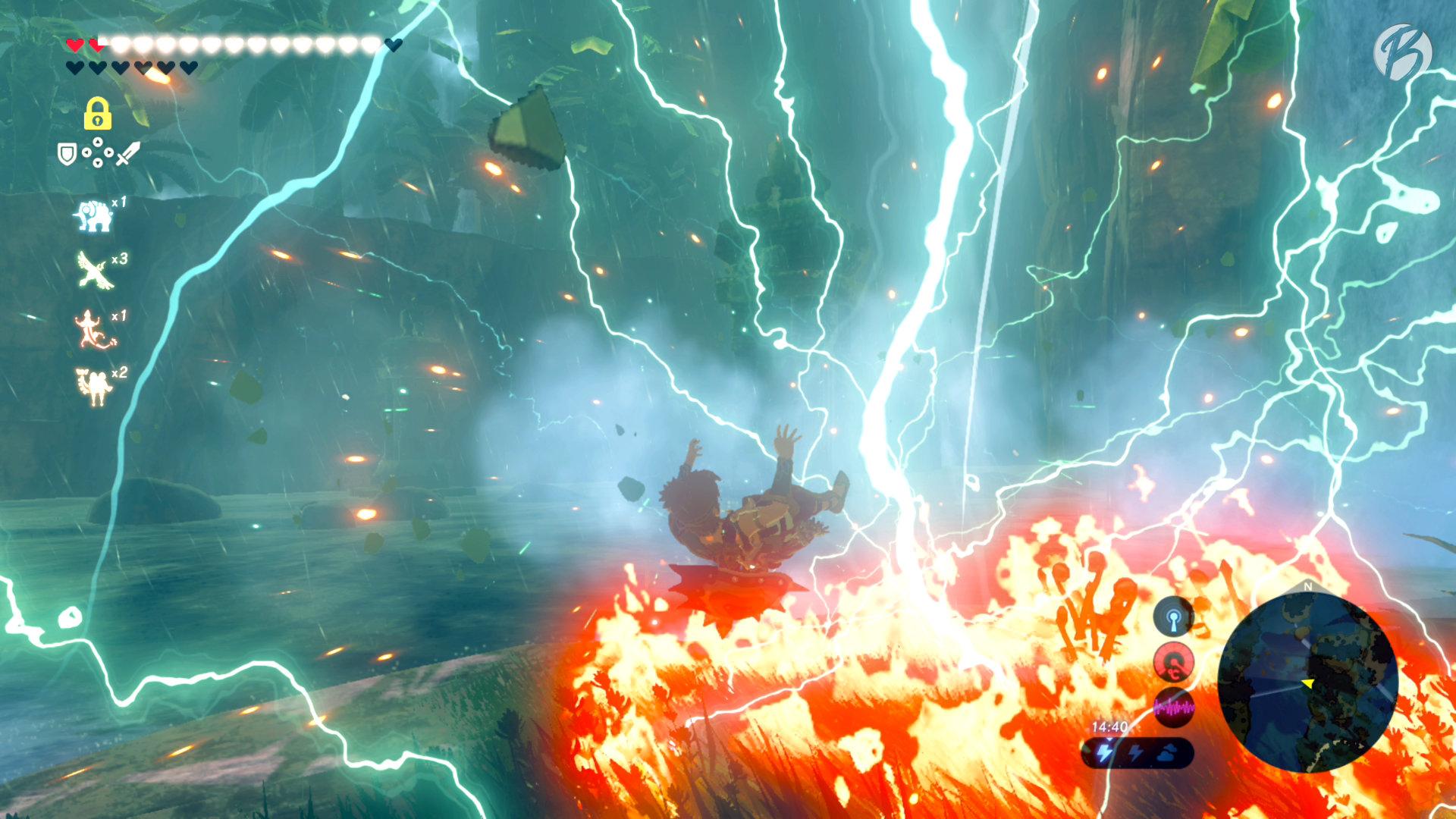 The Legend of Zelda: BotW - Vom Blitz getroffen! Bei Gewitter  sollte metallische Ausrüstung abgelegt werden.