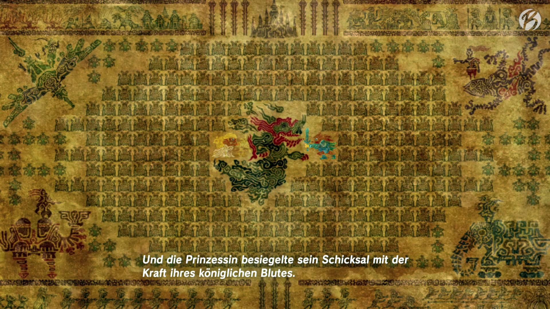 The Legend of Zelda: BotW - Laut der Legende benötigt man für die Verbannung Ganons die gemeinsame Kraft von Zelda, Link und vier weiteren Recken in ihren gigantischen Titanen.