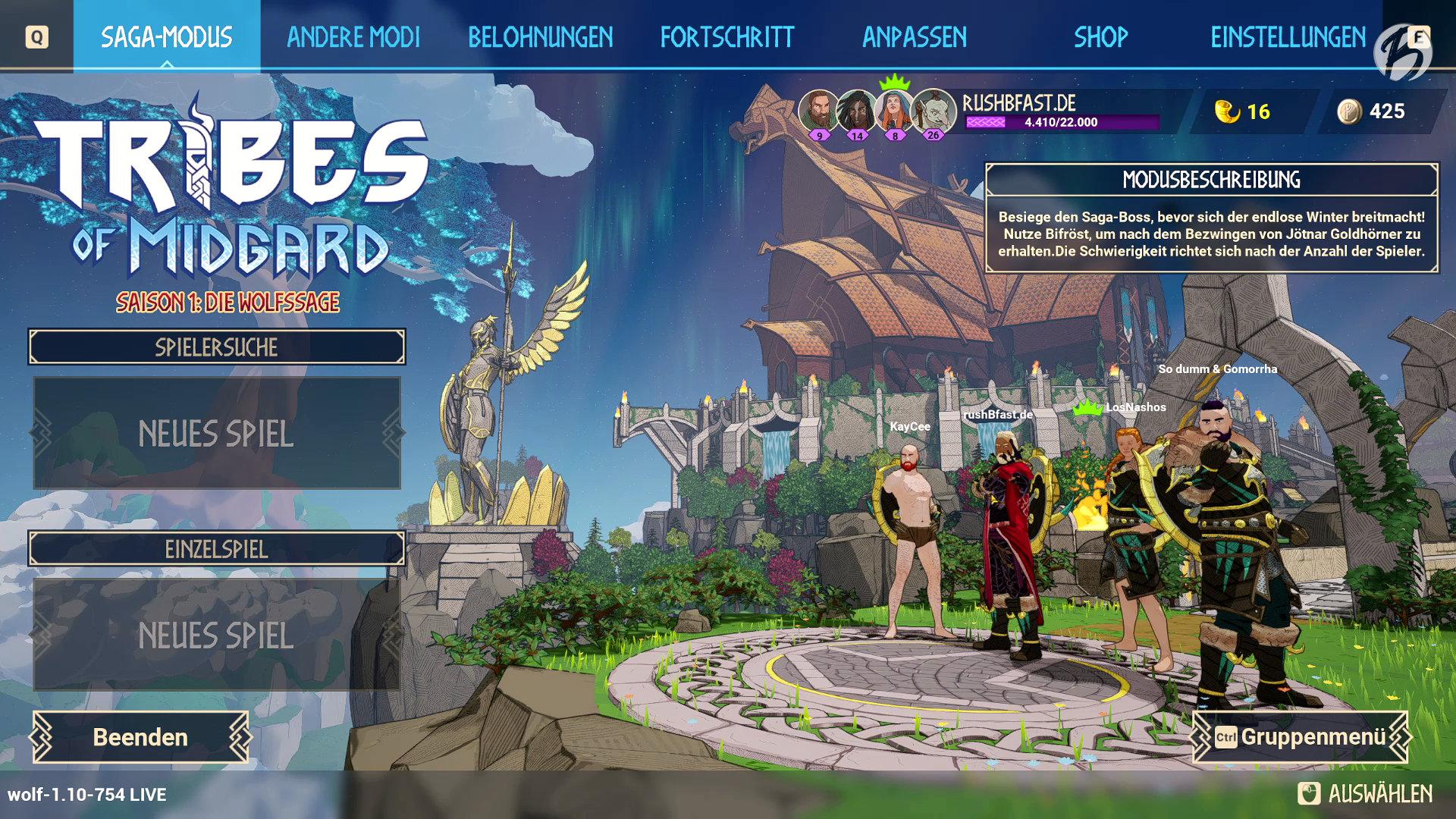 Tribes of Midgard - Die Online-Lobby ist zugleich das Spielmenü.