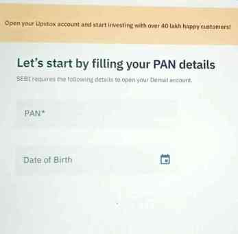 Filling pan card details in Upstox account