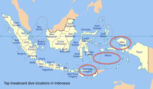 Map of liveaboard dive locations in Indonesia