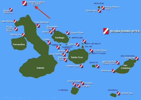 Dive site map of Galapagos
