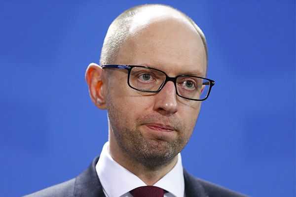 Ukrainian Prime Minister Yatseniuk addresses news conference following talks in Berlin