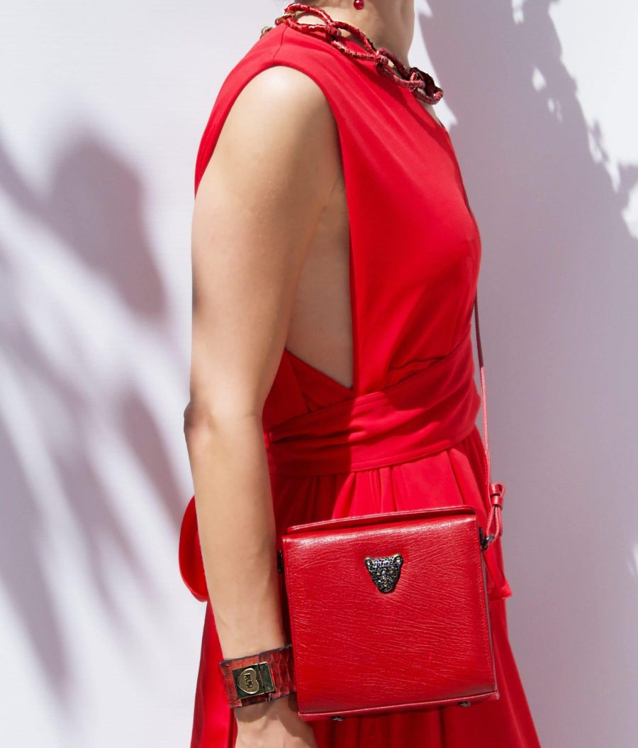 red dress red earrings MicroB bag  scaled e1595430911306