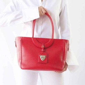 Mezzaluna Tote Red Leather Tote by RusiDesigns