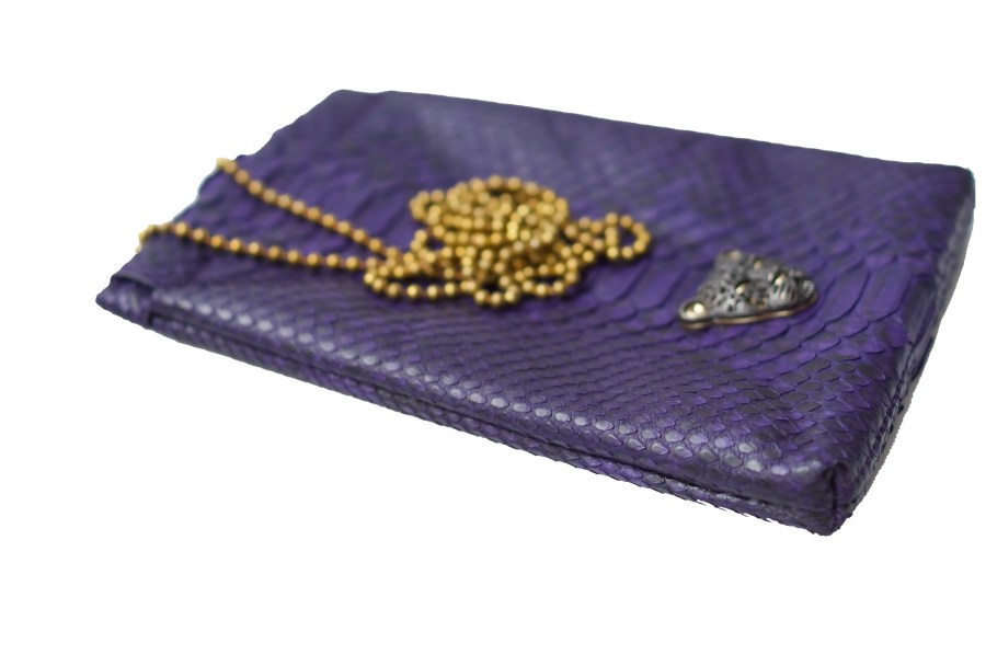 Purple Capsule Clutch with black logo RusiDesigns