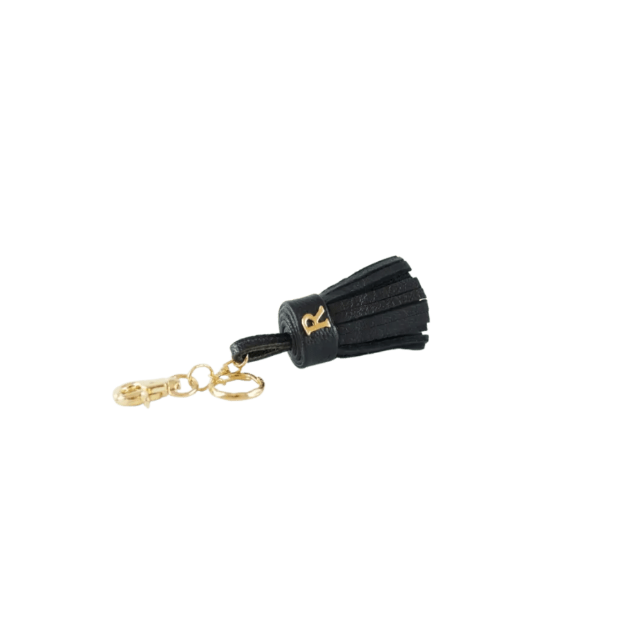Black Leather Tassel Keyring