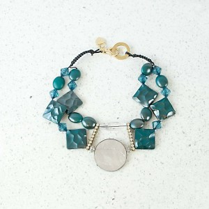 Teal green Moon Necklace