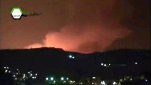 Кадър от видео, показващо израелския удар на Дамаск на 5 май.