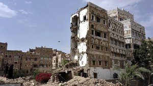 SANAA, YEMEN - JULY 4: Destroyed buildings in Bab al-Yemen which are declared as World Heritage Site by the United Nations, are seen after Saudi-led coalition launches airstrikes in Yemens capital, Sanaa, on July 4, 2015. (Photo by Mohammed Hamoud/Anadolu Agency/Getty Images) Yemen airstrike saudi-led coalition Yemen s capital Sanaa World Heritage Site
