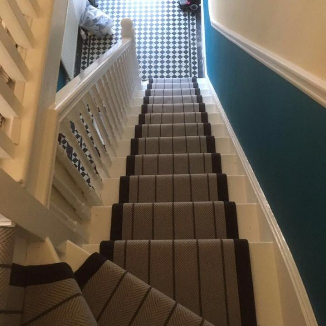 Russdalesour Work Russdales | Herringbone Carpet For Stairs | High Traffic | Textured | Classical Design | Striped | Carpet Stair Treads