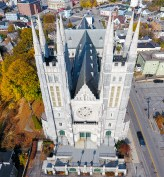 An aerial view of the Basilica of Saints Peter and Paul in Lewiston.