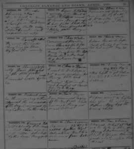 Page of Dickenson Diary