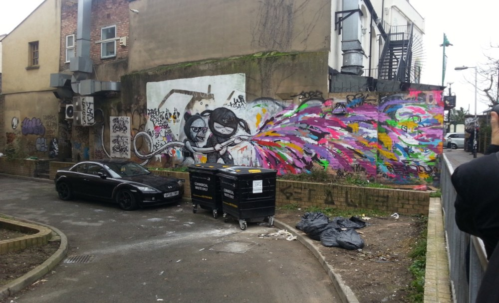 Black and white street art